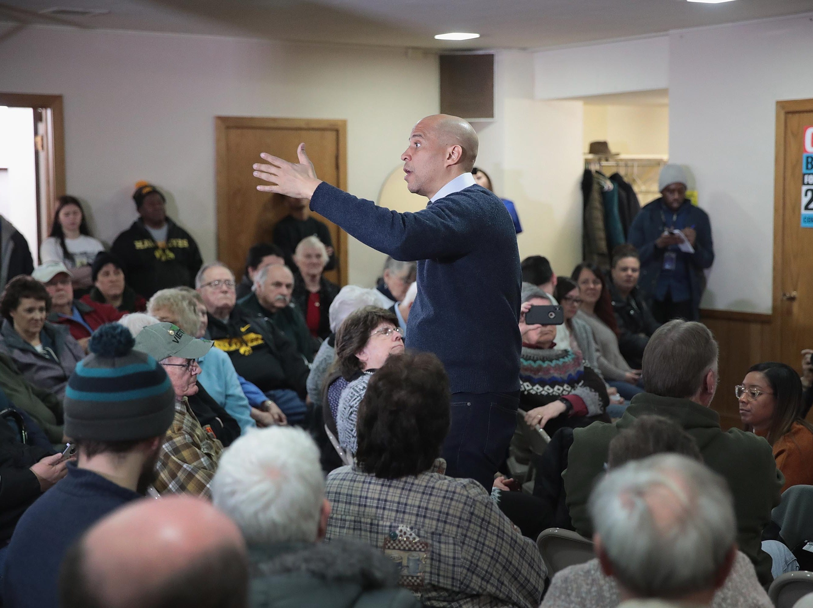 MASON CITY, IOWA - FEBRUARY 08: U.S Senator Cory Booker (D-NJ) speaks to guests during a campaign event in the basement at the First Congressional United Church of Christ on February 08, 2019 in Mason City, Iowa.  Booker, whose has family from Iowa, is in the state campaigning for the 2020 Democratic nomination for president. (Photo by Scott Olson/Getty Images)