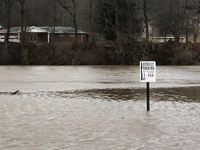 The parking lot of the Second Street boat ramp was flooded Friday morning.