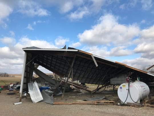 Strong winds Thursday evening damaged Chris Everhart's large shed on Ohio 751.
