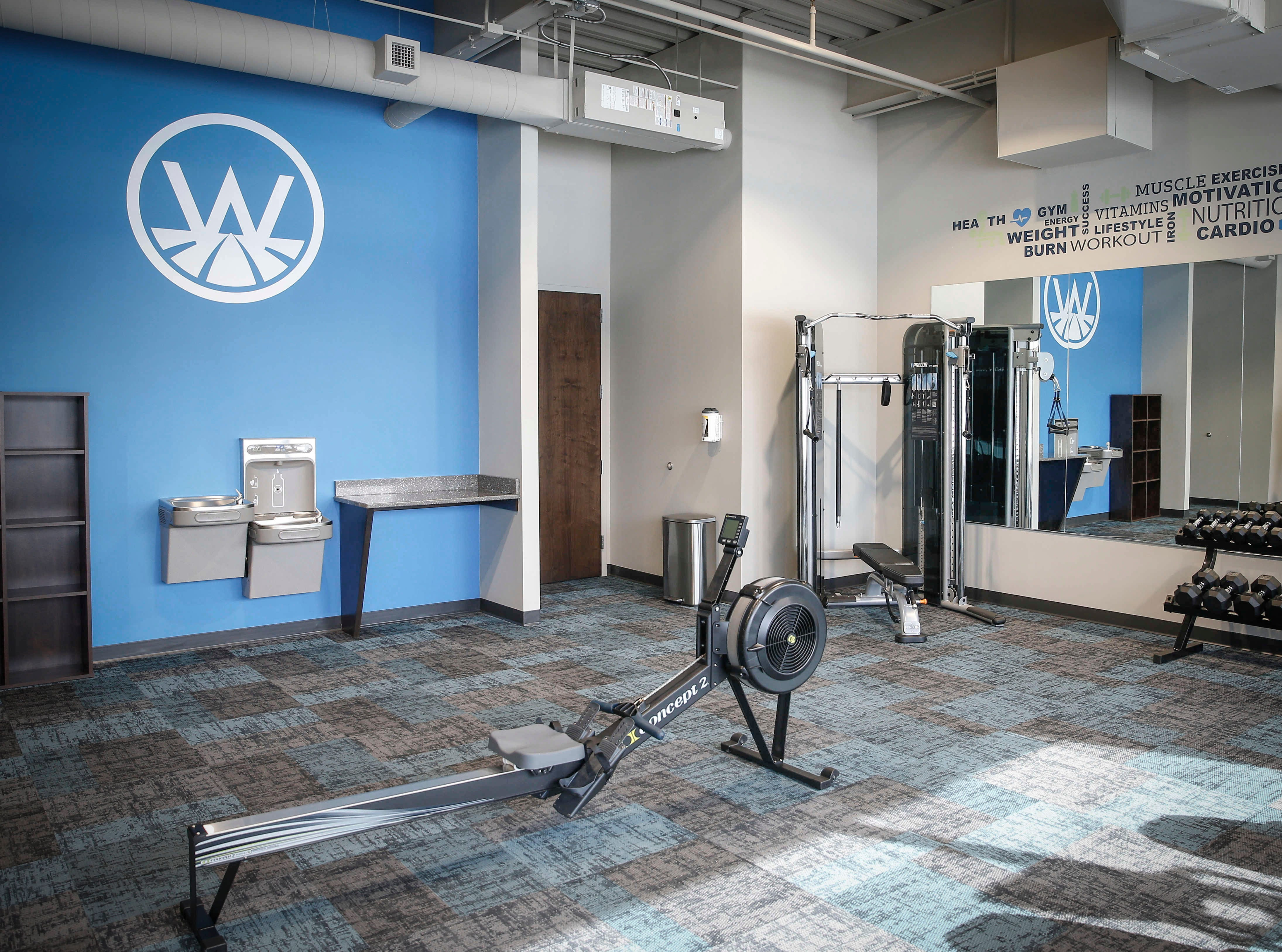 The new Westfield office building in West Des Moines offers an exercise room for lessees with freeweights, treadmills, a rowing machine and a Peloton bike.