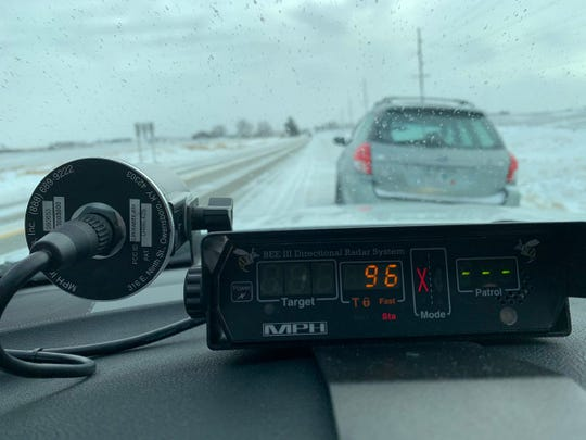 An Iowa State Patrol trooper pulled over a driver doing nearly 100 mph on an icy Iowa road.
