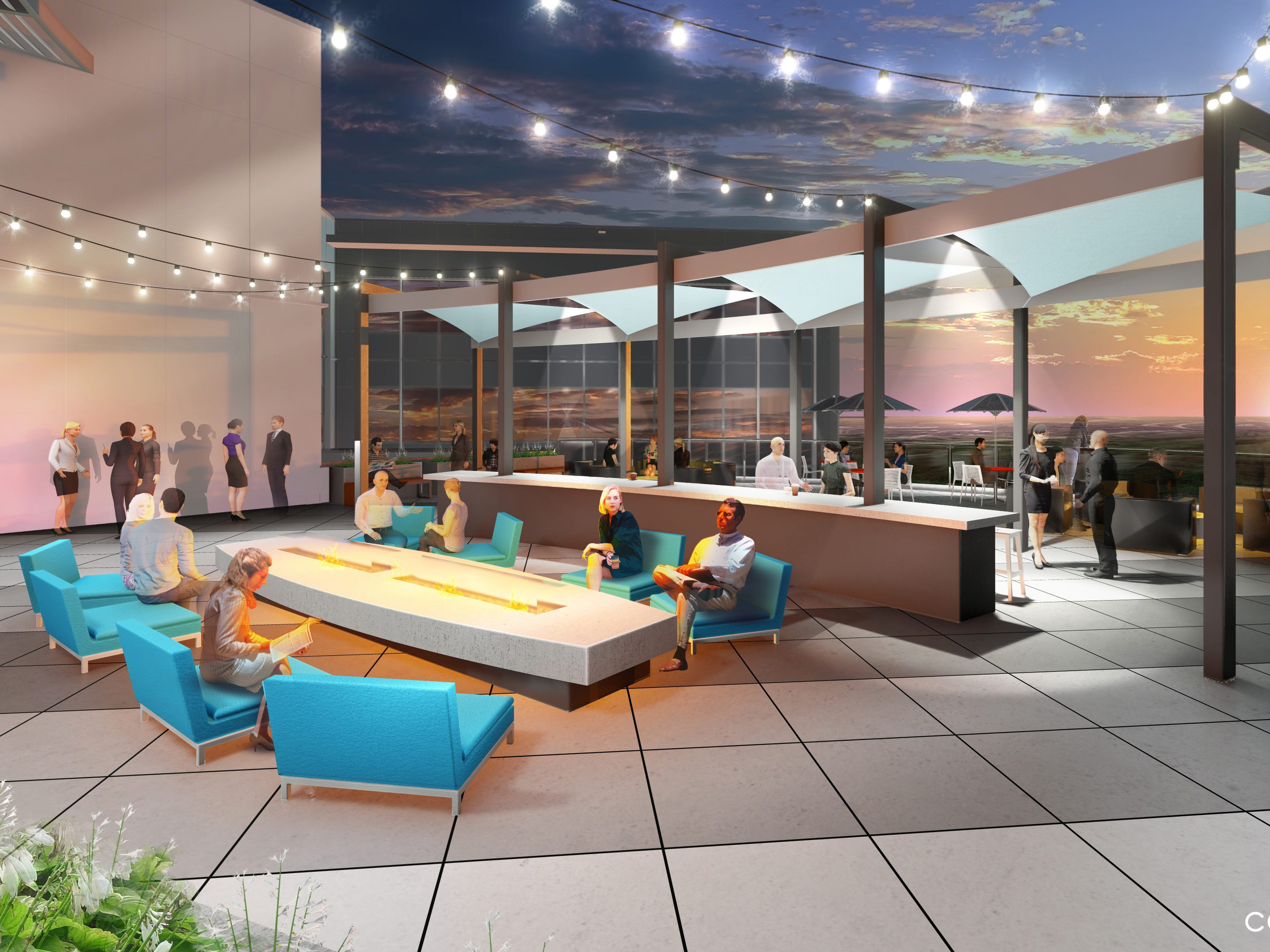 A rendering of the rooftop patio at The Westfield Campus. The outdoor amenities will open in the spring.