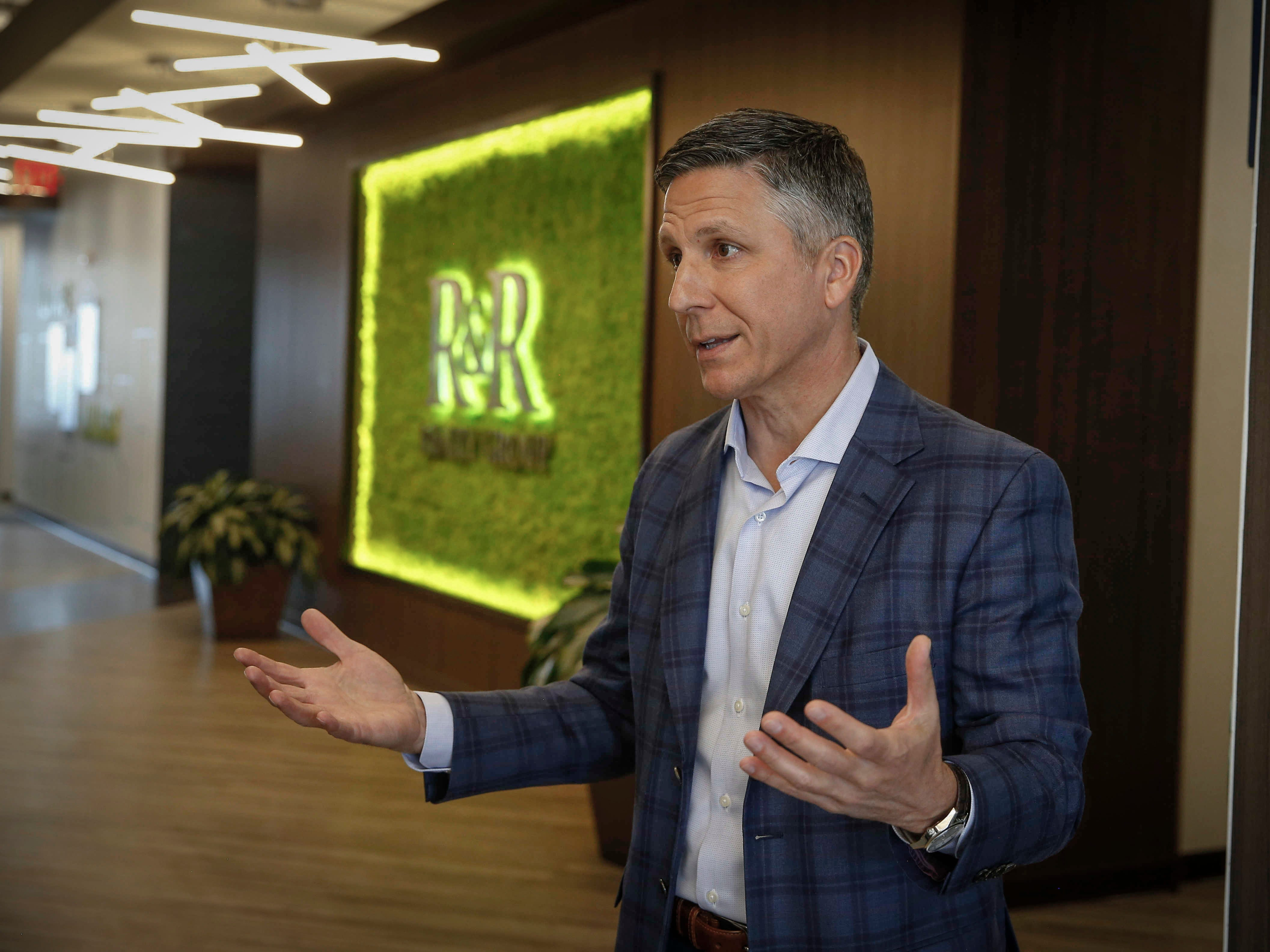 Mark Rupprecht, president of R&R Realty Group, talks about the amenities at the new Westfield office building in West Des Moines on Thursday, Feb. 7, 2019.