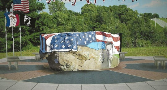 The proposed Warren County Freedom Rock Veterans' Memorial features five rays in stone to honor and pay tribute to the five branches of the American armed services: Air Force, Army, Coast Guard, Marine Corps, and Navy. If funding for the $25,000 project is found, the memorial could be in place in time for Veterans Day in November.