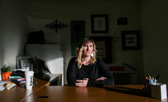 Micole Van Walbeek of Des Moines poses for a portrait at her office at Iowa Realty. Van Walbeek spoke with the Register about her ex husband, Jason Ogletree, and his struggles after suffering traumatic brain injuries in Afghanistan.
