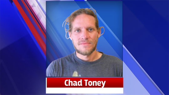 A mugshot of Chad Toney, who police are seeking in relation to possible animal abuse.