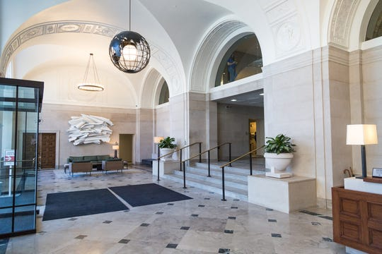 And here's the Detroit News building lobby after Bedrock's restoration to a more authentic original look.