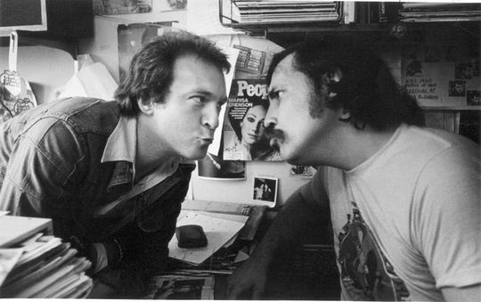 Creem magazine founder and publisher Barry Kramer and legendary music writer Lester Bangs where photographed in June 1976.