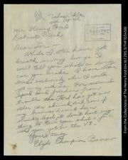 "This letter, signed ""Clyde Champion Barrow"" and part of The Henry Ford museum's collection, was sent to Henry Ford in 1934, about six weeks before Barrow and his accomplice Bonnie Parker were gunned down by law officers in Louisiana."