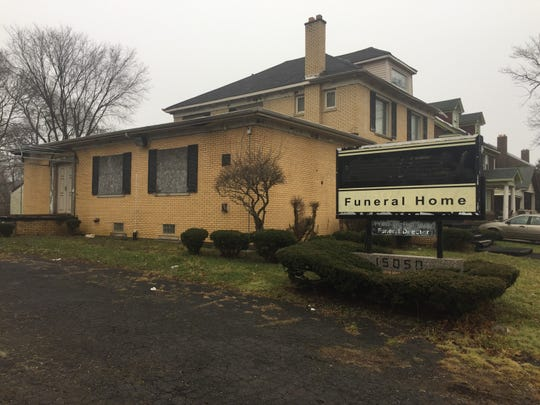 The former Ramsey Memorial Funeral Home, later renamed Howell Funeral Home, on Dexter near Fenkell, in Detroit, Mich., Feb. 7, 2019.