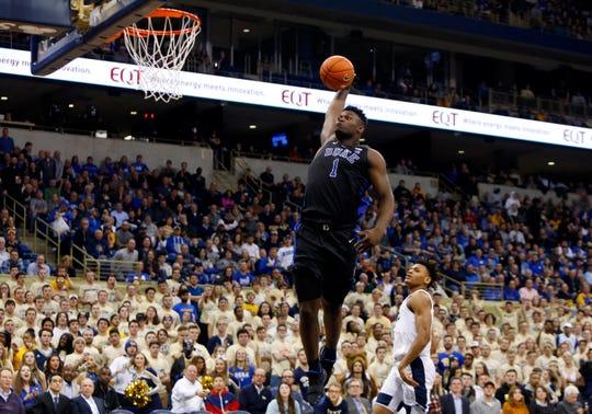 Duke forward Zion Williamson dunks against Pittsburgh on Jan. 22.