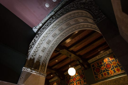 An ornate arch and ceiling is seen in the fully restored Great Hall of the historic Metropolitan Building in downtown Detroit on Monday, December 17, 2018. The renovation of skyscraper will include retail, restaurants and Michigan's first Element Hotel.