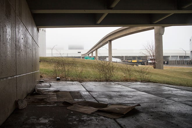 Detroit police cleared this area under an overpass near Joe Louis Arena on W. Jefferson in Detroit. Photo taken Feb. 7, 2019.