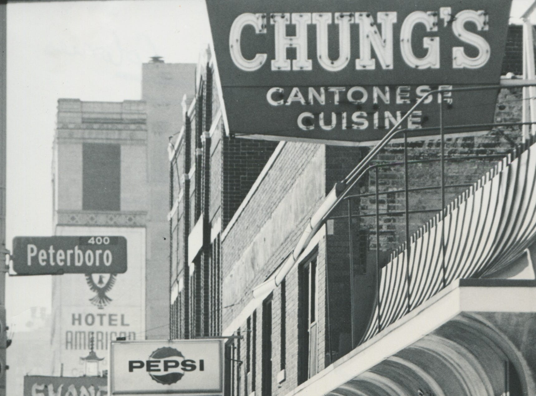 Chung's restaurant on Cass Avenue at Peterboro in Detroit's Chinatown circa 1976.