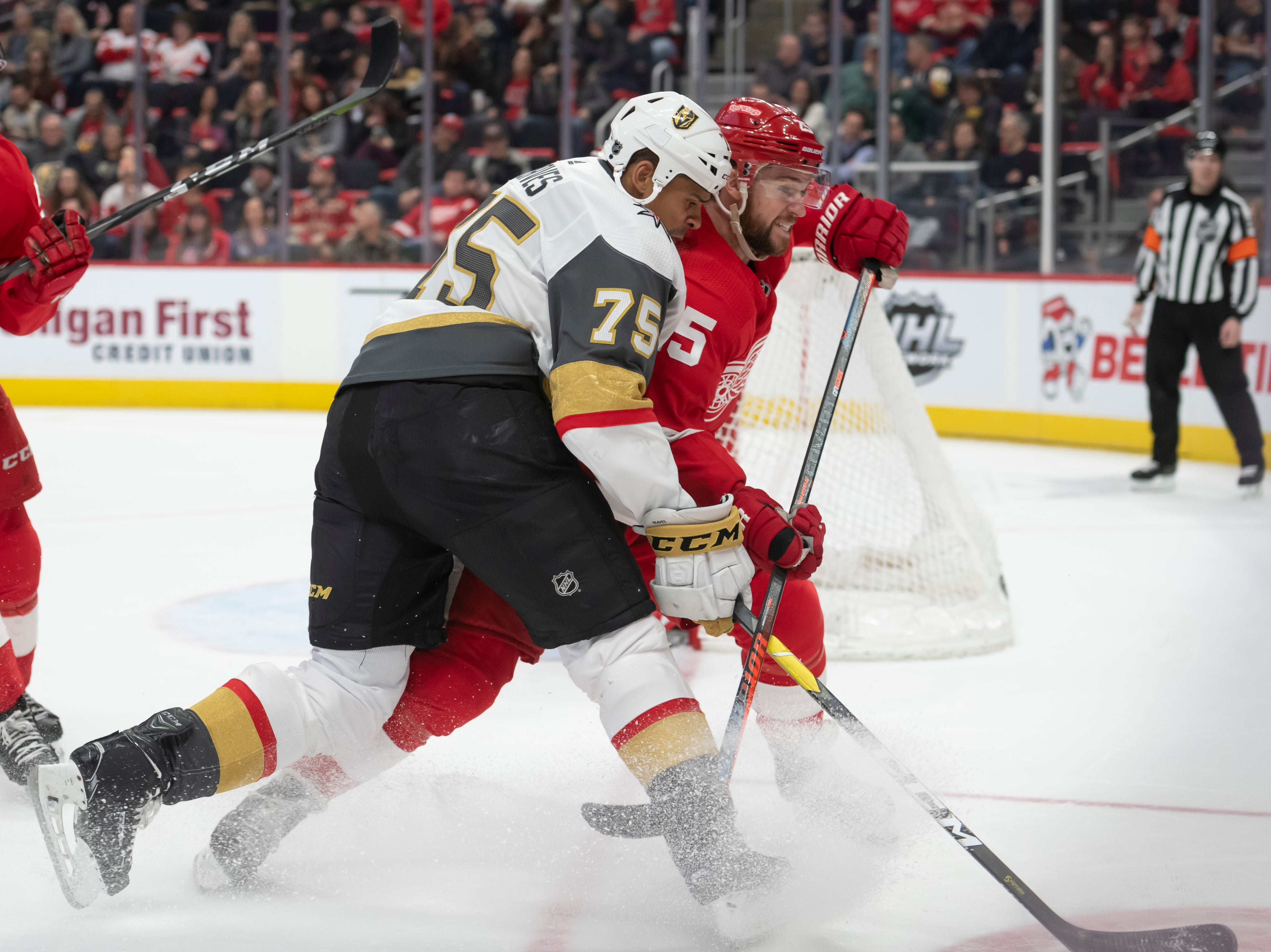 Vegas right wing Ryan Reaves and Detroit defenseman Mike Green battle for the puck in the second period.