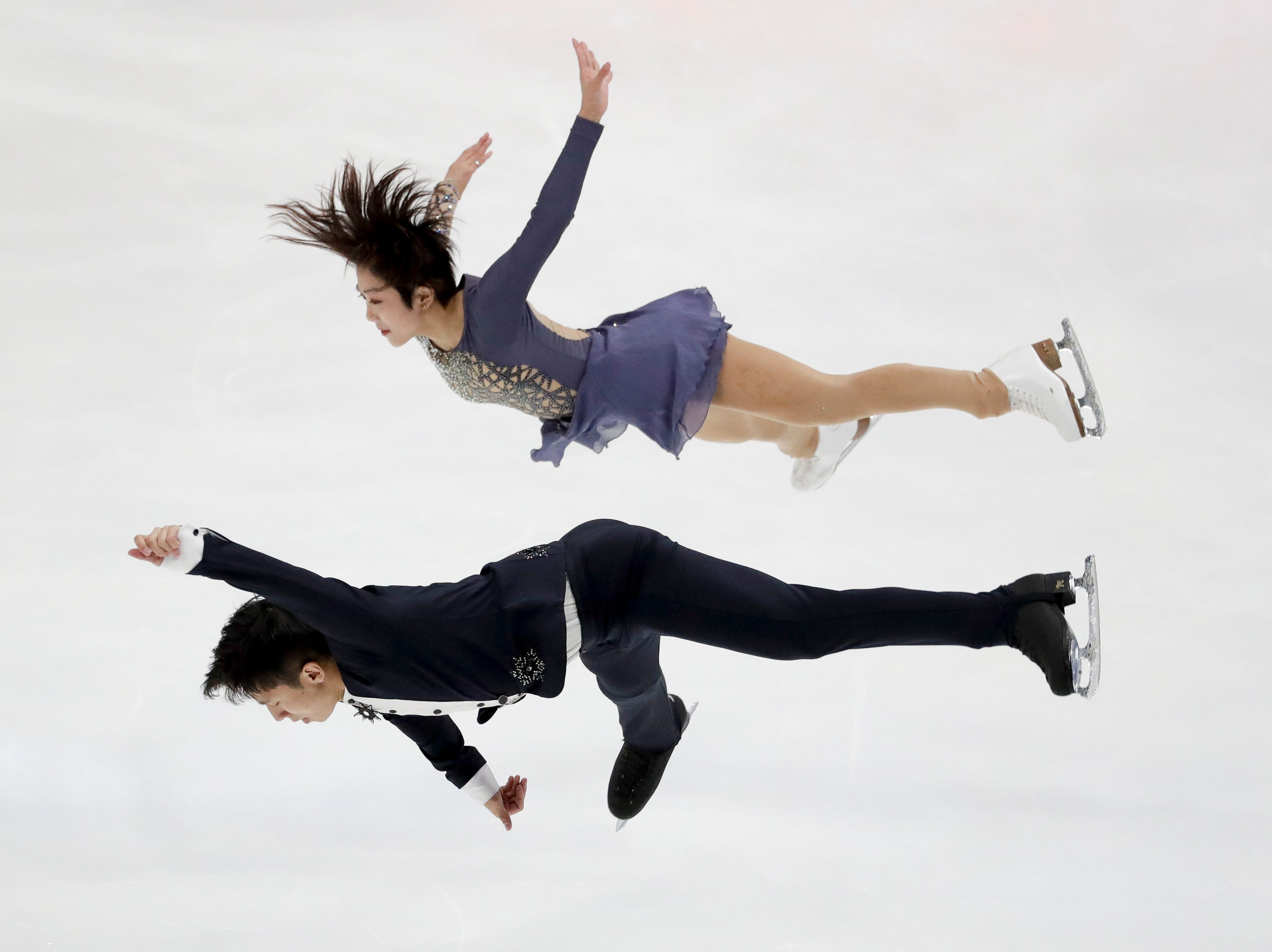 Wenjing Sui and Han Cong, of China, perform during the pairs short program at the Four Continents Figure Skating Championships on Friday, Feb. 8, 2019, in Anaheim, Calif.