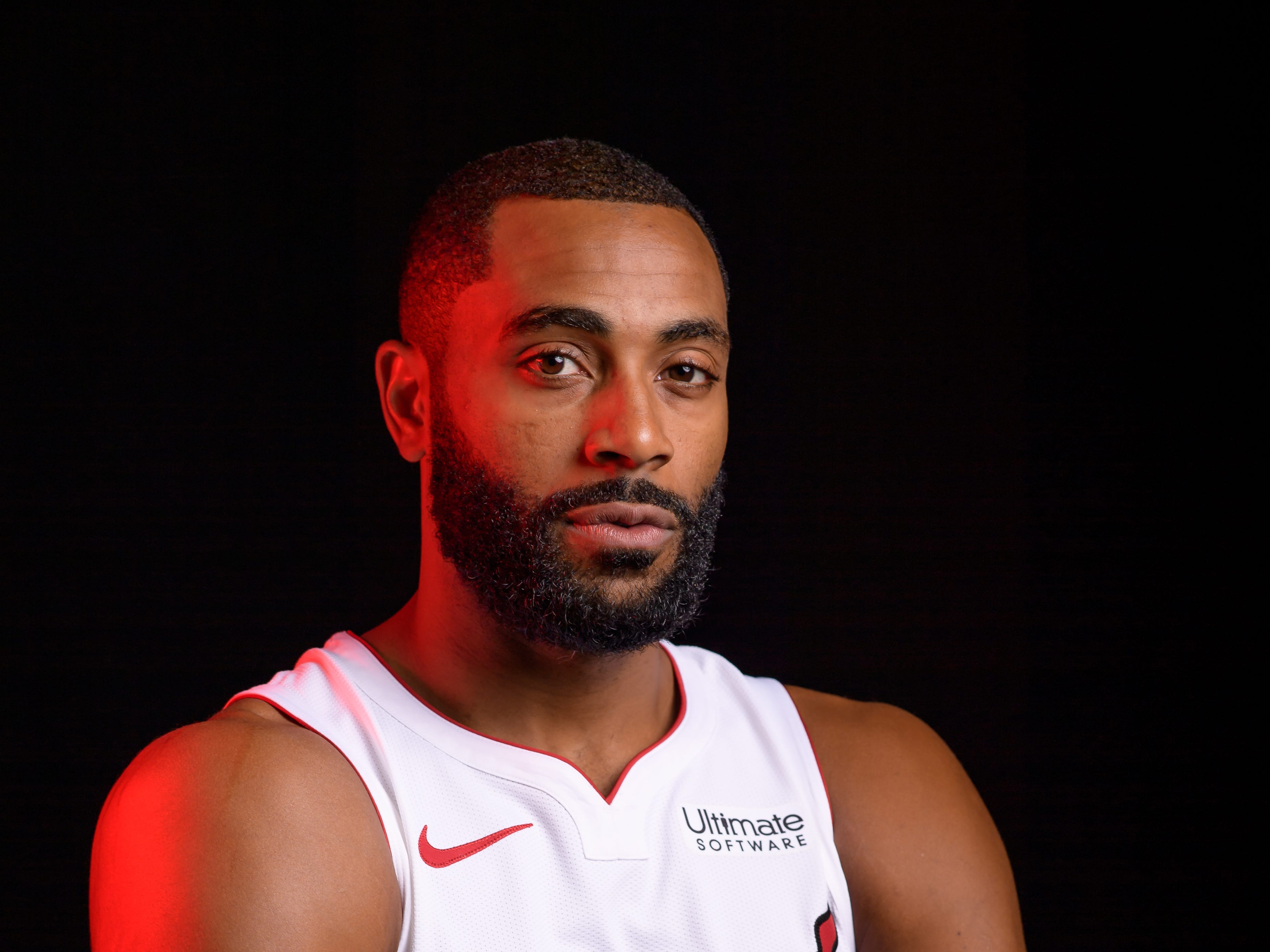 Wayne Ellington of the Miami Heat poses for pictures on media day on Sept. 24, 2018.