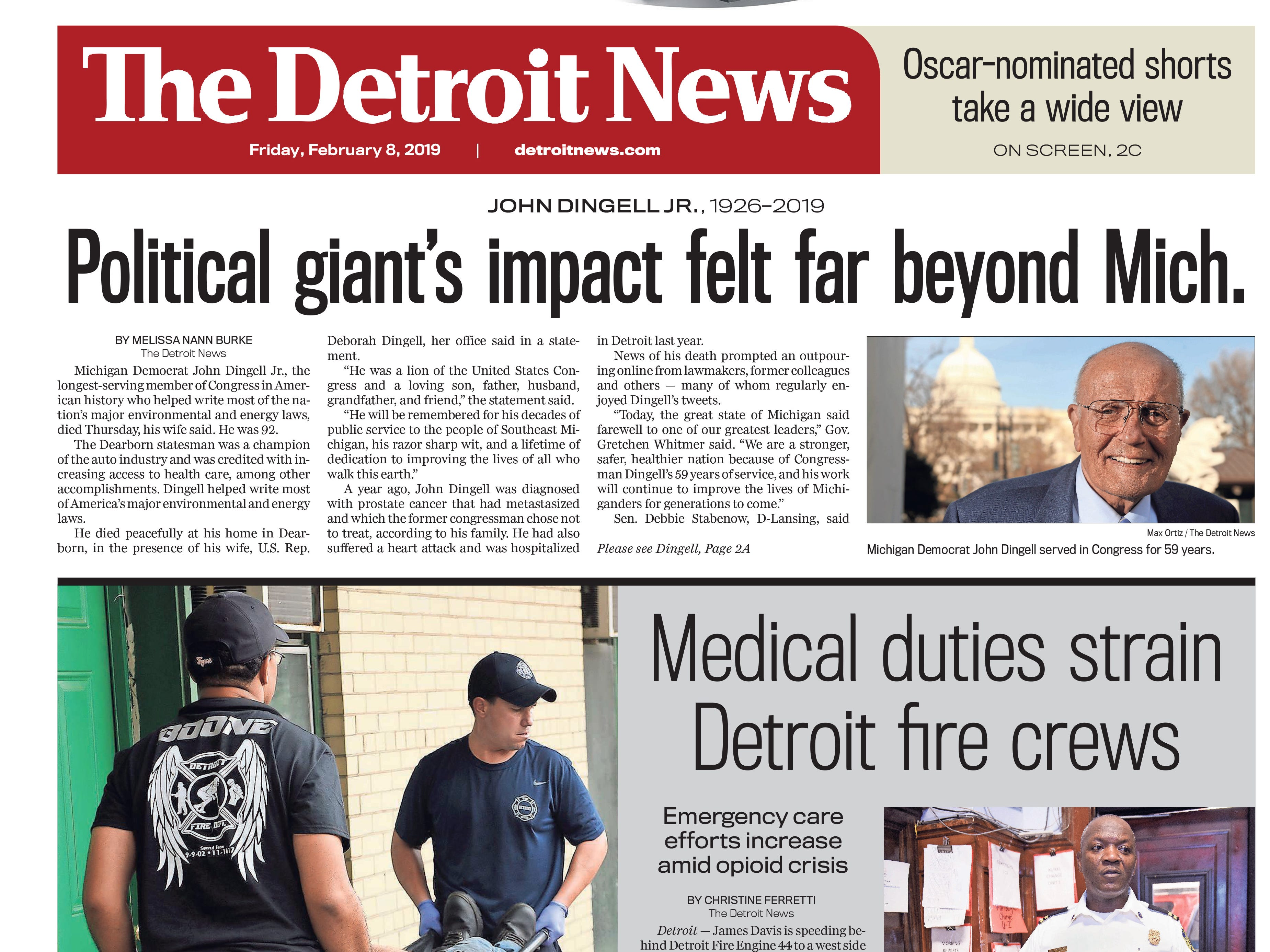 The front page of the Detroit News on Friday, February 8, 2019.