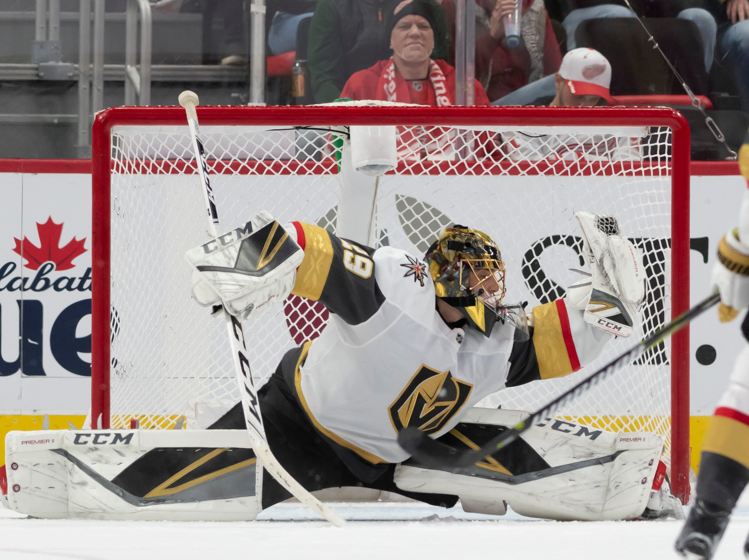 Vegas goaltender Marc-Andre Fleury makes a save in the second period.