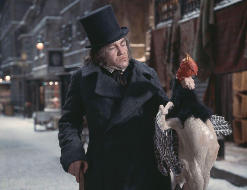 January, 1970: English actor Albert Finney as Dickensian anti-hero Scrooge in the musical film 'Scrooge.'