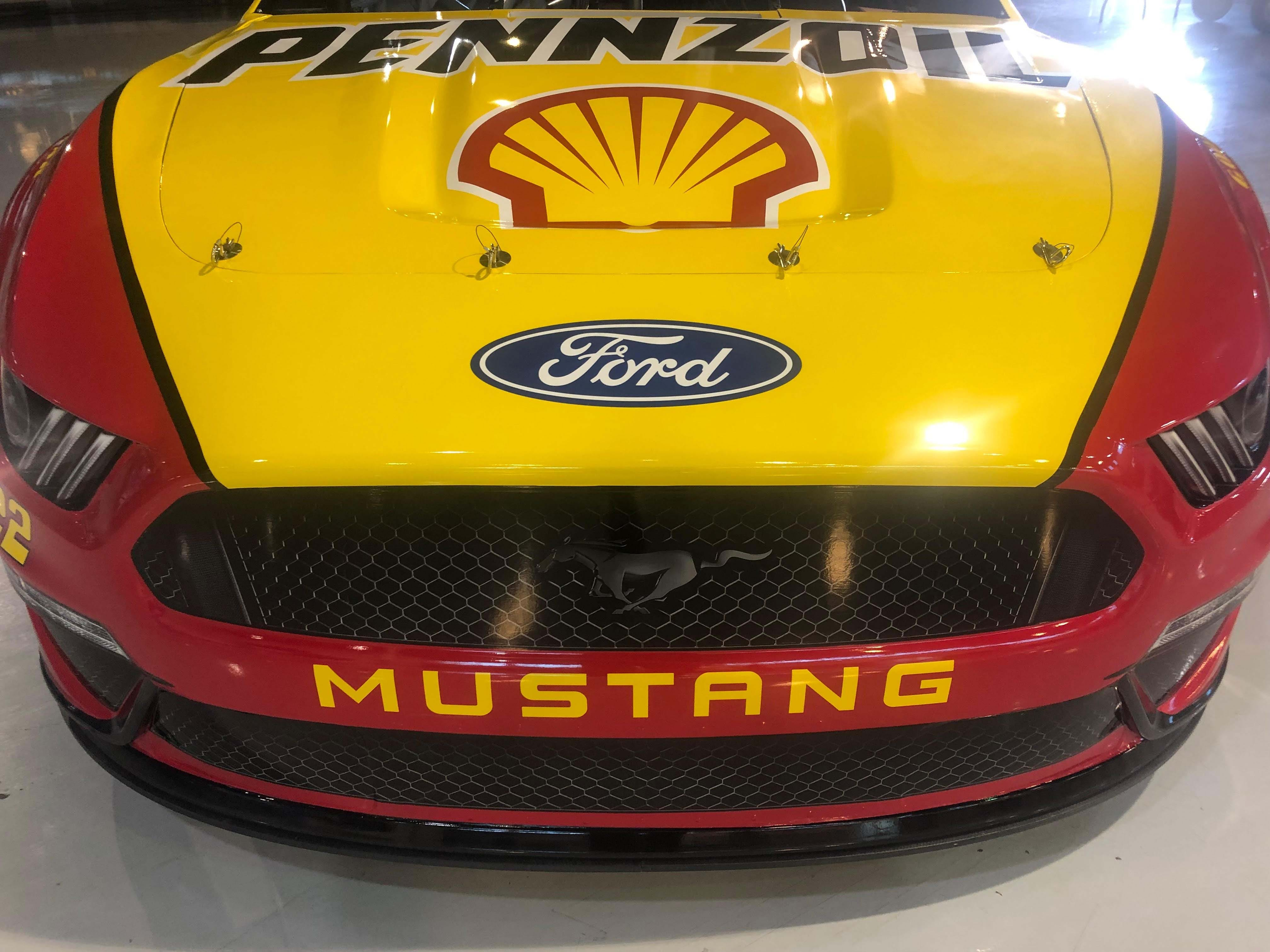 The pony rides in NASCAR. The Ford NACAR wears the Mustang's signature pony. The #22 car belongs to Team Penske's Joey Logano.