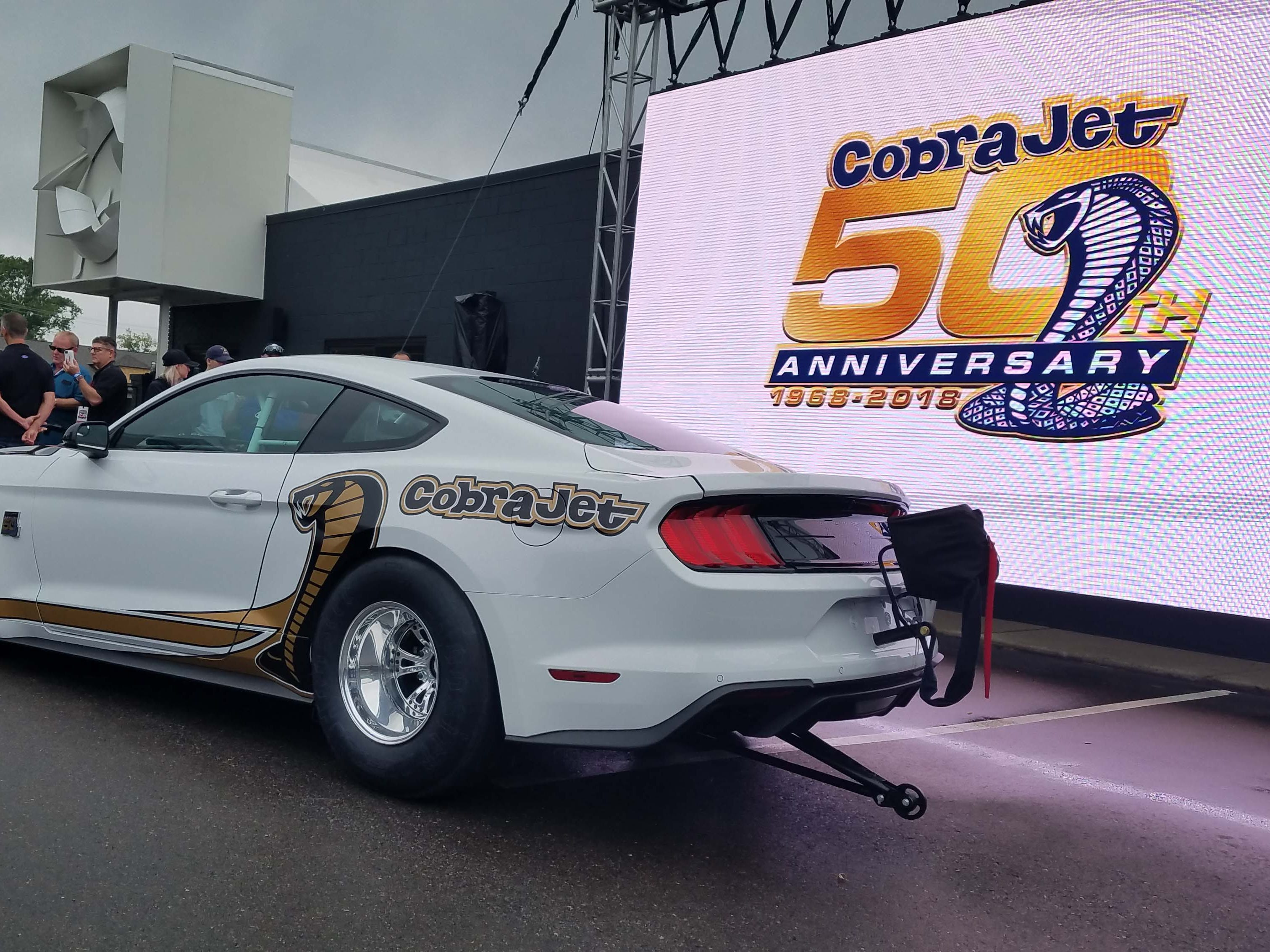 The Ford Mustang Cobra Jet will also debut at the NHRA Winternationals on Pomona, California February 9-10 weekend. The Cobra Jet uses a stock Ford V-8 block and competes in the Sportsman class.