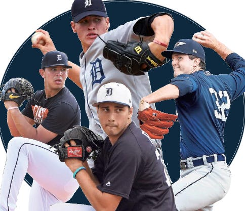 Tigers prospects, clockwise from top, Matt Manning, Casey Mize, Alex Faedo and Franklin Perez.