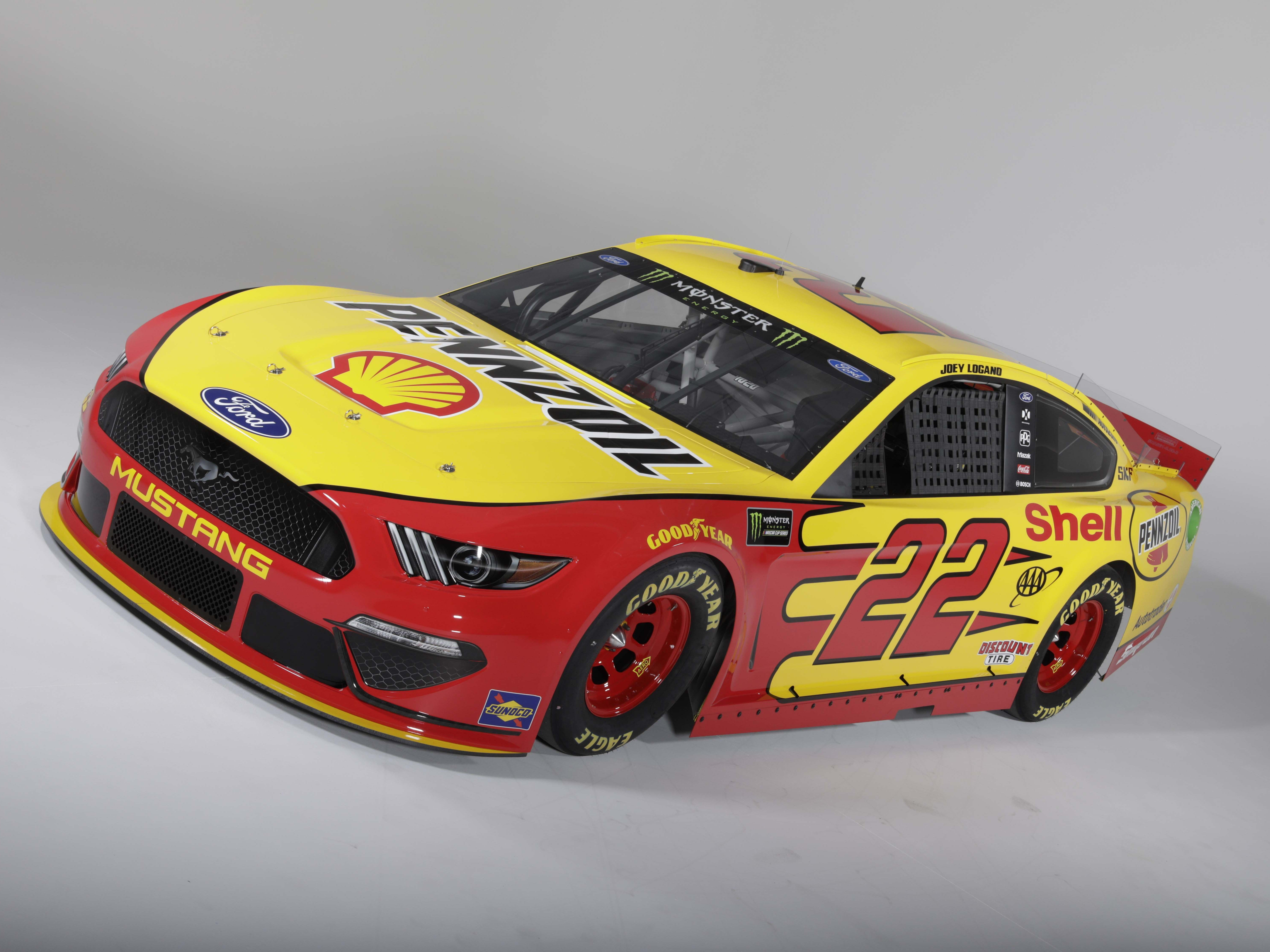 Joey Logano will defend his 2018 Monster Energy NASCAR Cup title in his new Team Penske Mustang.