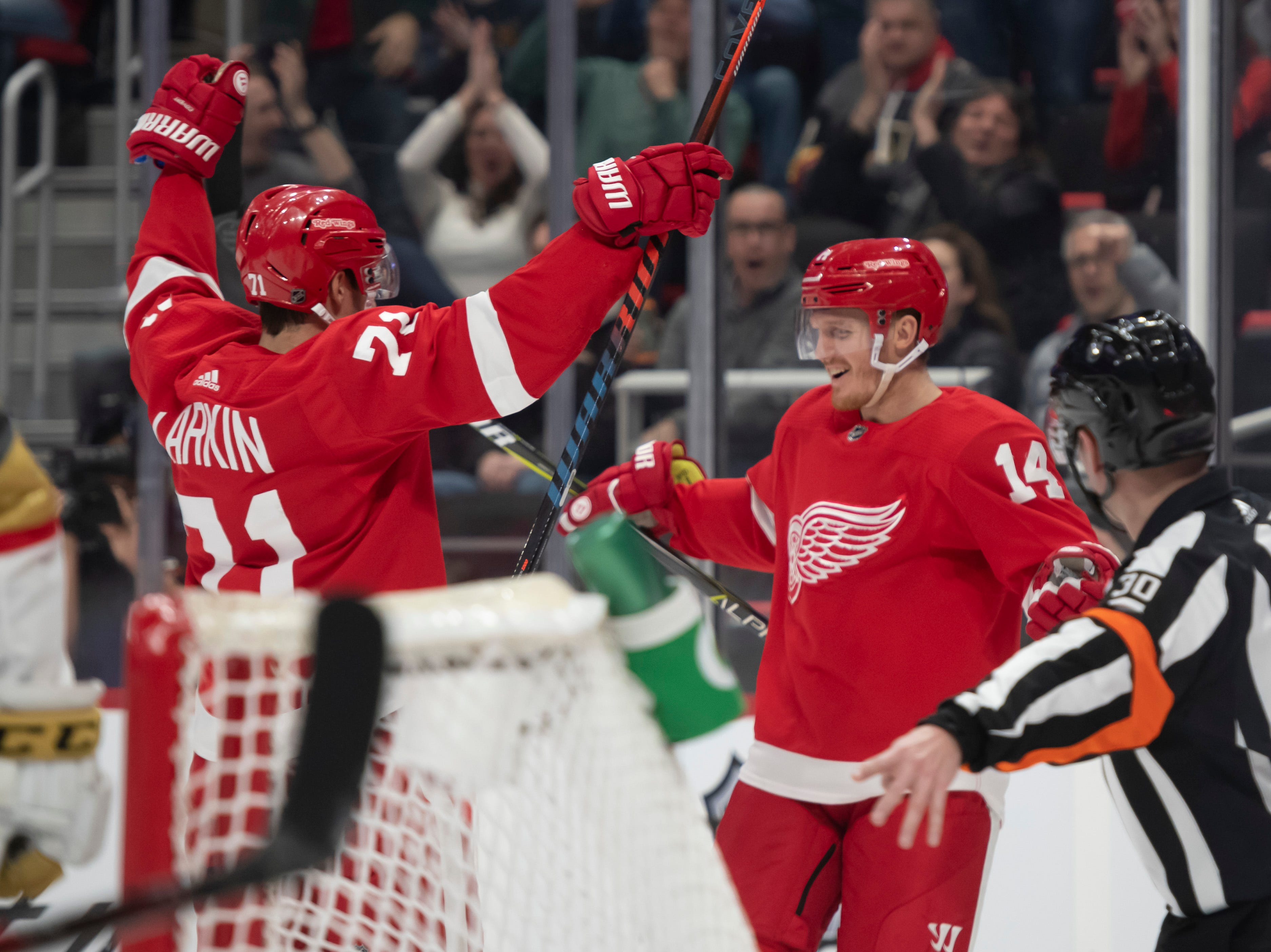 Detroit center Dylan Larkin, left, celebrates with center Gustav Nyquist after Nyquist scored in the first period.
