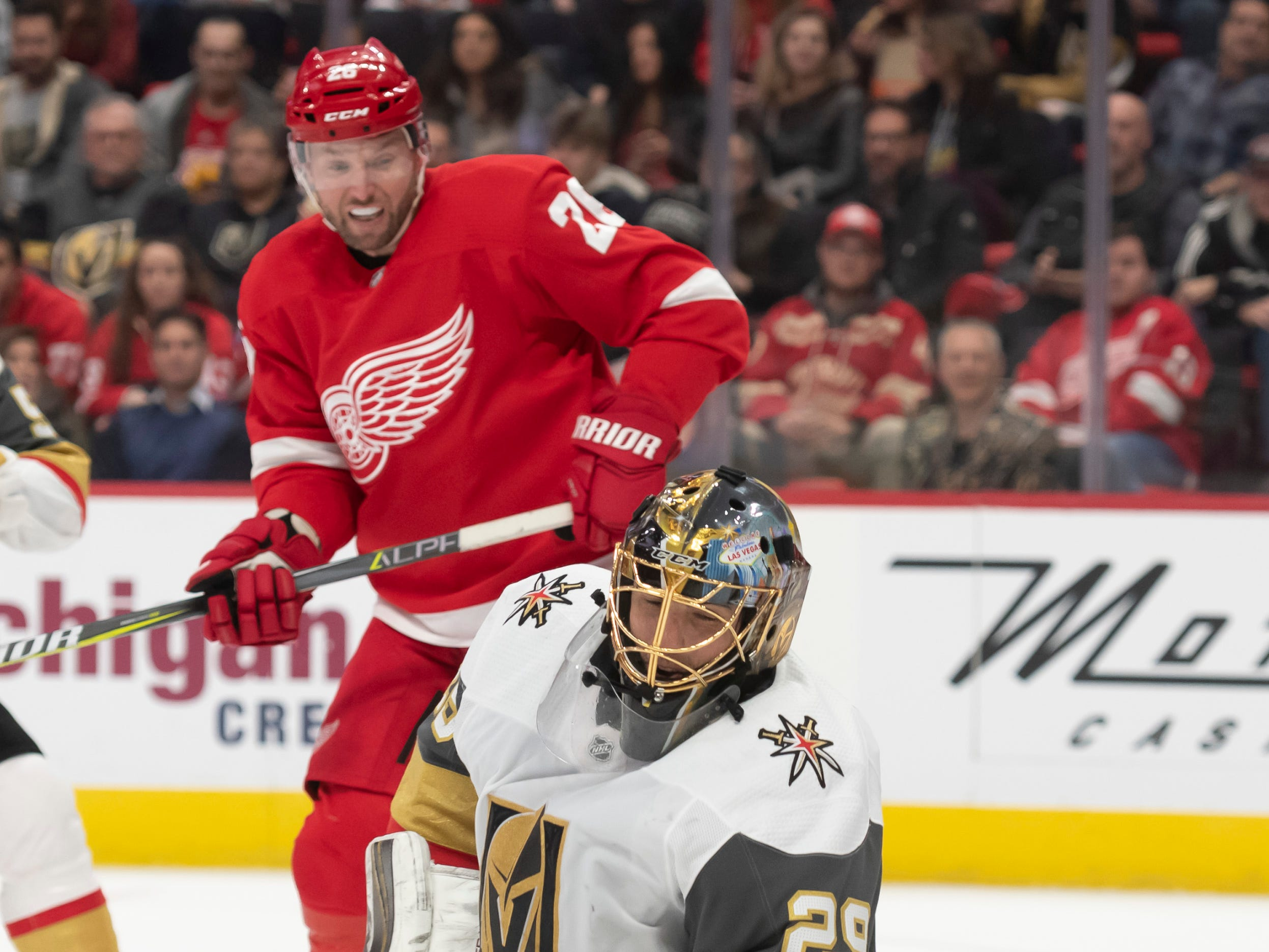 Vegas goaltender Marc-Andre Fleury blocks a shot in front of Detroit left wing Thomas Vanek in the first period.