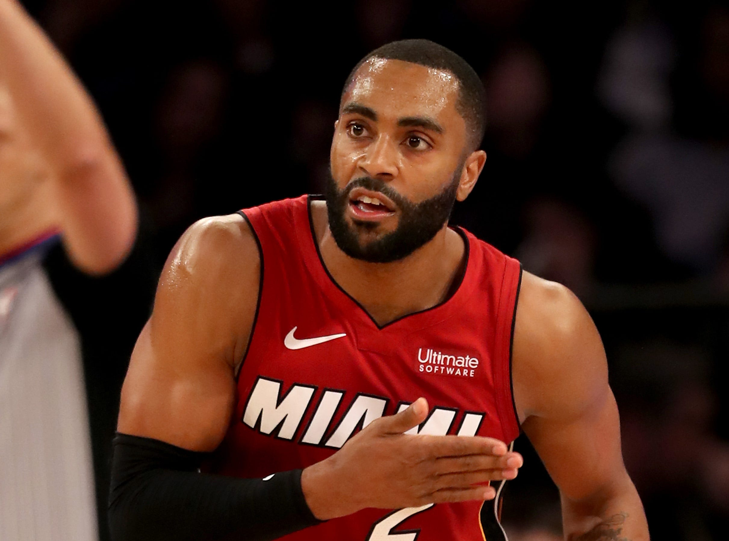 Wayne Ellington of the Miami Heat reacts in the third quarter against the New York Knicks on Jan. 27, 2019.