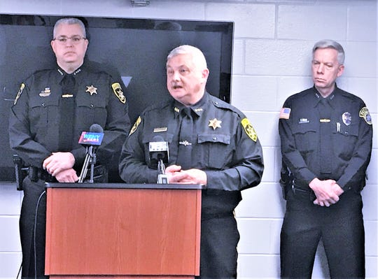 Steuben County Sheriff Jim Allard discusses reasons to oppose legalizing recreational marijuana in New York at a Friday news conference. Looking on are acting Chemung County Sheriff Bill Schrom, left, and Horseheads Police Chief Thomas Stickler.