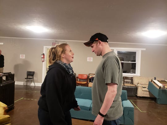 Amanda Clark and Richard Armstrong rehearse for the Elmira Little Theatre's upcoming production of 'Lend Me a Tenor.'