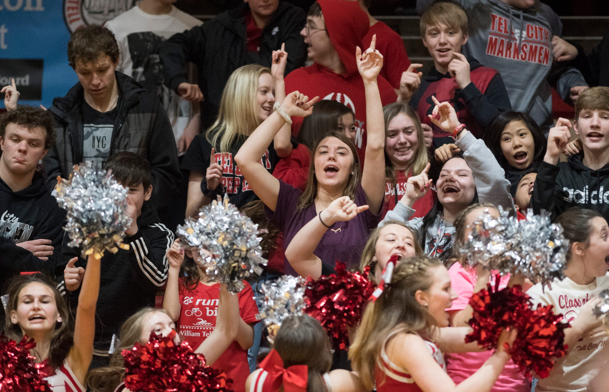 The Tell City student section erupts after the Marksmen sink a basket during the Gibson Southern vs Tell City game at the Bryan Taylor Sports Arena in Tell City, Ind. Thursday, Feb. 7, 2019. Tell City won in double overtime 51-49.