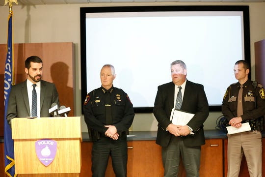 Fond du Lac County District Attorney Eric Toney talks at a press conference Friday, February 8, 2019 to discuss his findings in the December 23, 2018 death of Christopher Cary while he was in the custody of the Fond du Lac Police Department. Also at the press conference are City Of Fond du Lac Police Chief Bill Lamb, Sheboygan Police Department Captain Kurt Brasser, and Fond du Lac County Sheriff Ryan Waldschmidt. Toney revealed during the conference that no charges would be filed against any of the officers involved during the time of Cary's death. Doug Raflik/USA TODAY NETWORK-Wisconsin