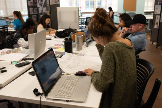 FSU students working in Architecture and Interior Design program coursework.