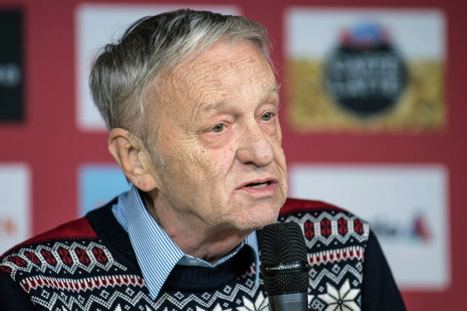 """FILE - In this Feb. 19, 2017, file photo, Gian-Franco Kasper, president of the International Ski Federation, speaks during a press conference in St. Moritz, Switzerland. A group of winter sports athletes and the world's biggest snowboard maker want the president of the International Ski Federation to resign after he spoke of """"so-called climate change"""" and said he would rather deal with dictators than argue with environmentalists. Climate advocacy group Protect Our Winters put out an open letter Friday, Feb. 8, 2019, calling on 75-year-old Gian Franco Kasper to step aside. (Peter Schneider/Keystone via AP, File)"""