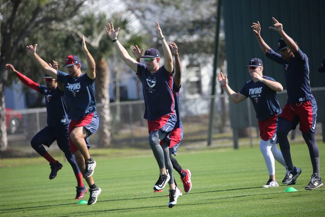 Players in the Minnesota Twins organization work out on Friday morning, Feb. 8, 2019, at the Century Link Sports Complex in Fort Myers. The first official Spring Training practice for pitchers and catchers is on Wednesday.