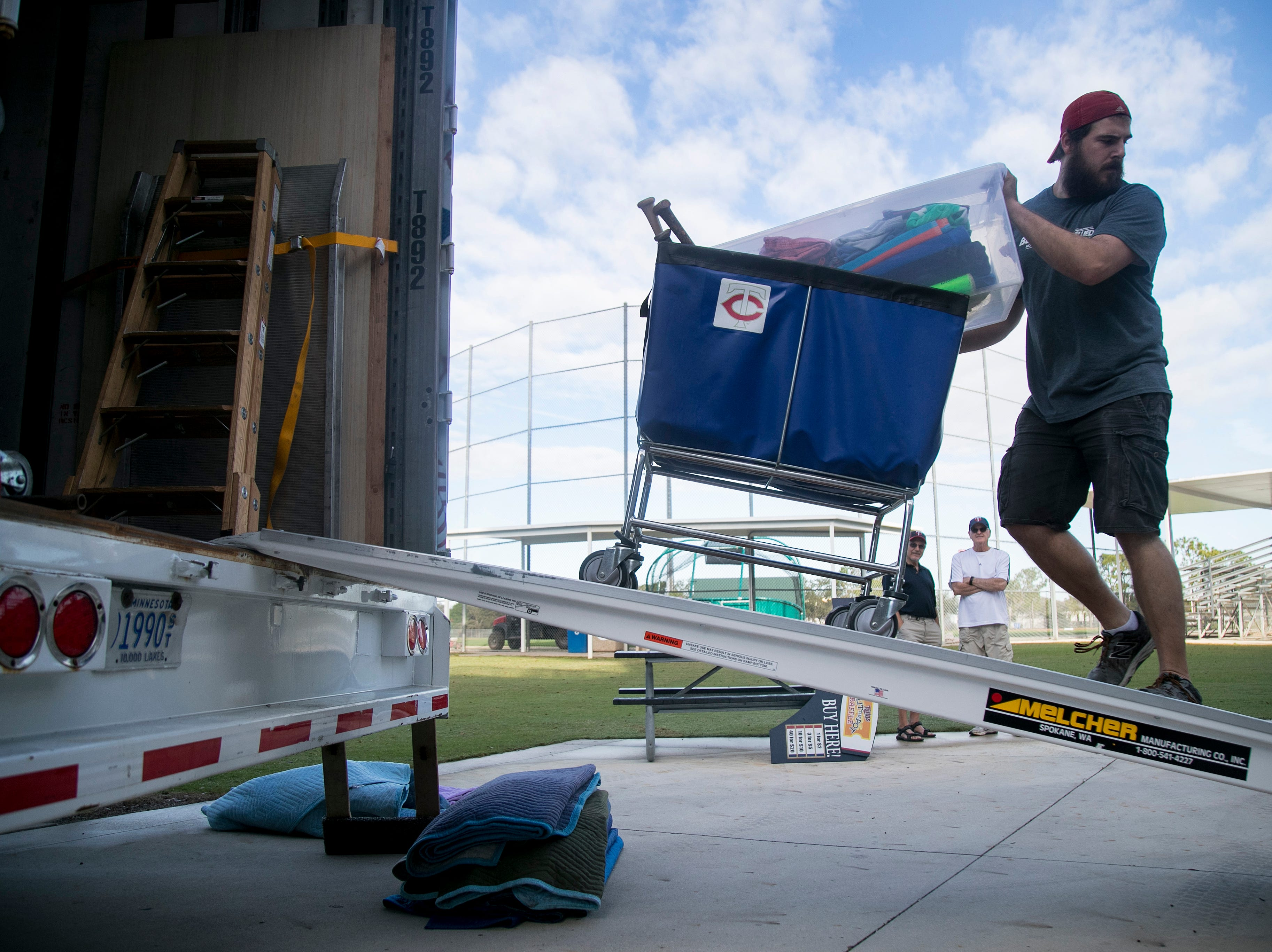 Joe Fischer unloads the Minnesota Twins truck on Friday, Feb. 8, 2019, at the Century Link Sports Complex in Fort Myers. The first Spring Training practice for pitchers and catchers is on Wednesday.
