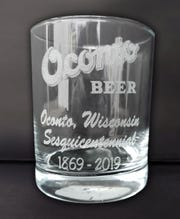 An eteched highball glass being sold to mark the City of Oconto's 150th anniversary in 2019.