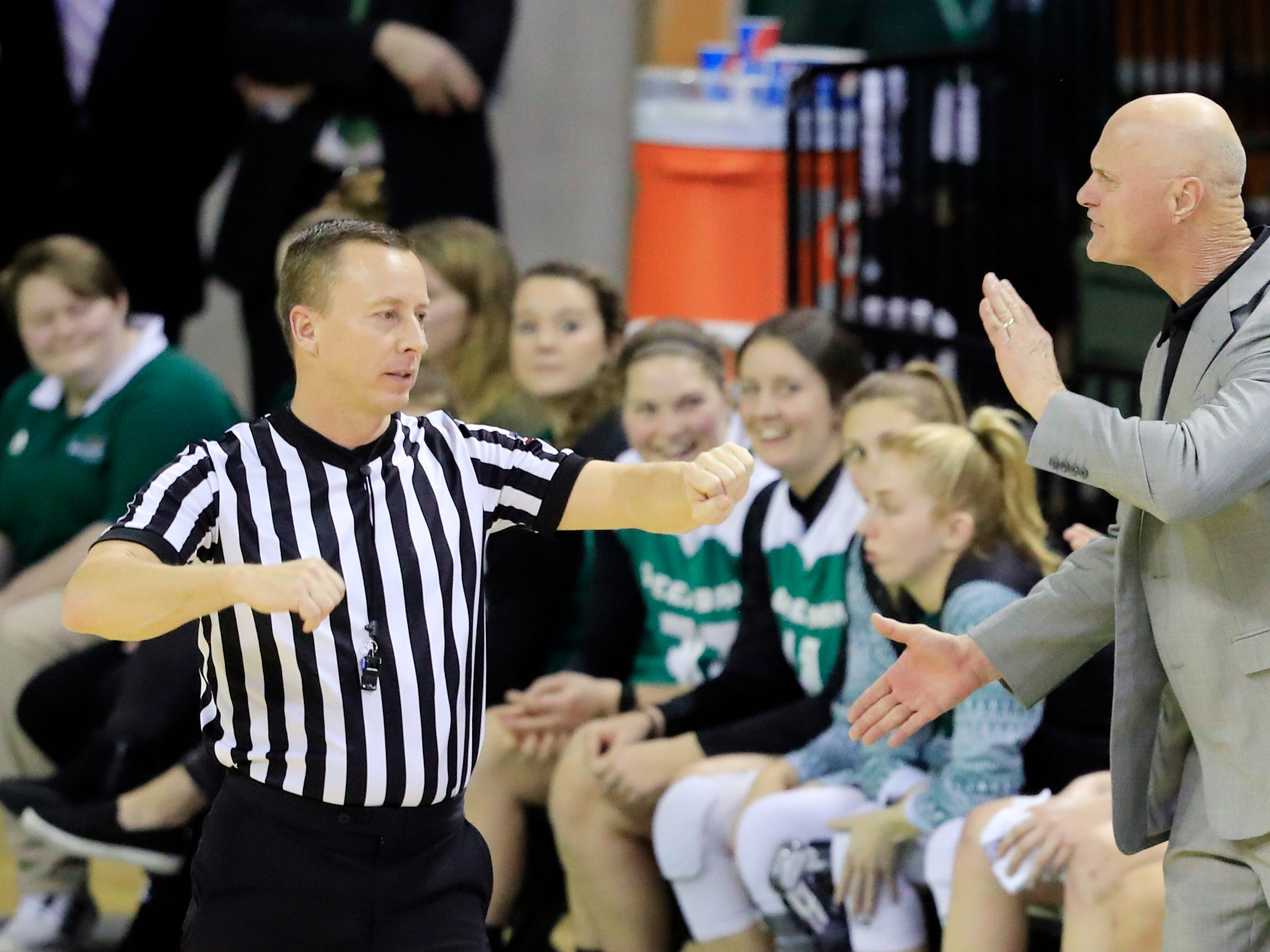 Green Bay Phoenix head coach Kevin Borseth reacts after a foul against the Phoenix in a Horizon League women's basketball game at the Kress Center on Thursday, February 7, 2019 in Green Bay, Wis.