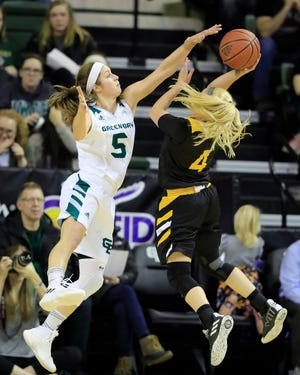 UWGB guard Laken James (5) gets another chance to play in front of the hometown fans on Thursday.