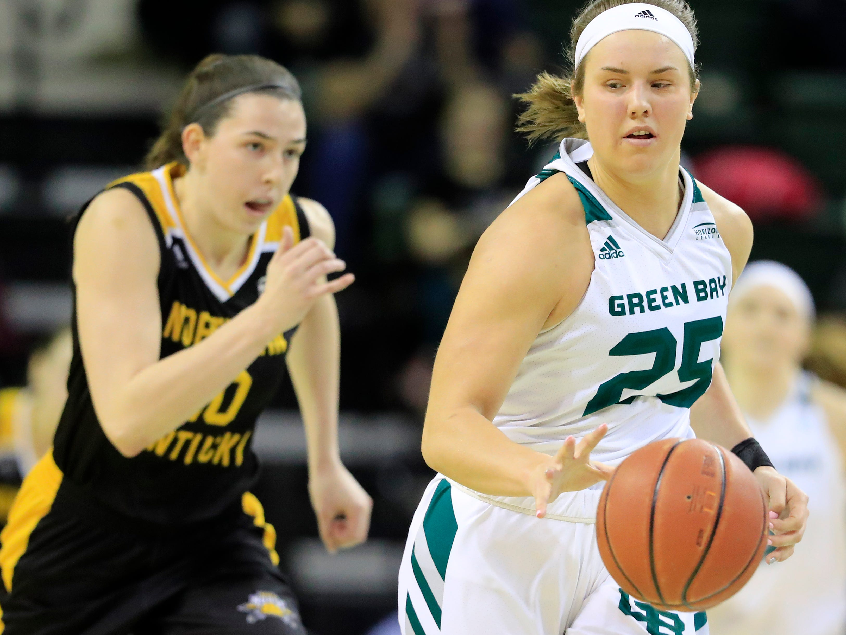 Green Bay Phoenix guard/forward Lyndsey Robson (25) leads a break against the Northern Kentucky Norse in a Horizon League women's basketball game at the Kress Center on Thursday, February 7, 2019 in Green Bay, Wis.