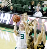 Green Bay Phoenix guard Frankie Wurtz (3) shoots against the Northern Kentucky Norse in a Horizon League women's basketball game at the Kress Center on Thursday, February 7, 2019 in Green Bay, Wis.