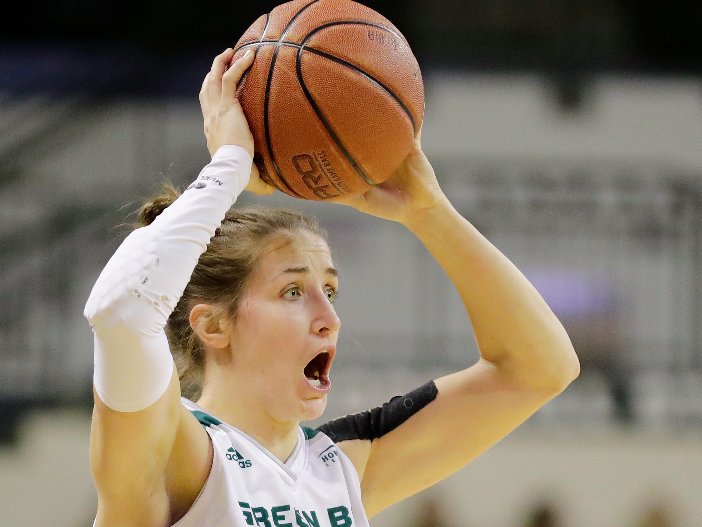 Green Bay Phoenix guard Jen Wellnitz (1) shouts instructions in a Horizon League women's basketball game at the Kress Center on Thursday, February 7, 2019 in Green Bay, Wis.
