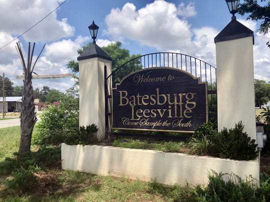 This Saturday, May, 26, 2018, photo shows a sign for the town of Batesburg-Leesville, S.C. A group is trying to put up a memorial in the town to decorated African-American World War II veteran Sgt. Isaac Woodard, who was beaten and blinded by a white police chief in Batesburg-Leesville in 1946. The brutality inflicted against Woodard by a Southern police chief is credited with inspiring President Harry Truman to integrate the military in 1948.
