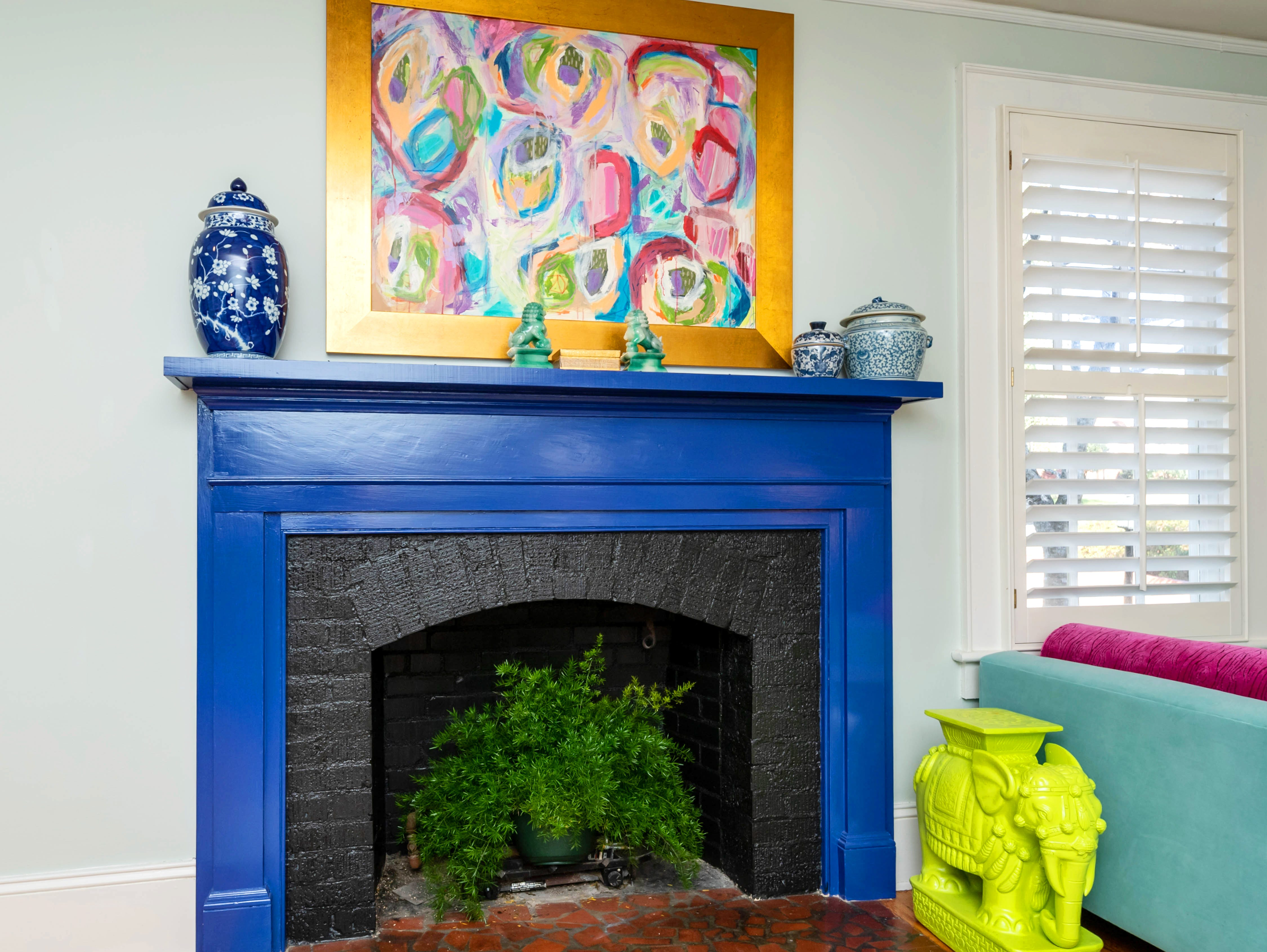 Cara and Josh Sims  have turned their Greenville home into a cozy cottage full of warm colors.