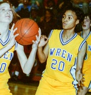 Pam Owens, right, of Wren High School February 25, 1993 playing Southside High School.