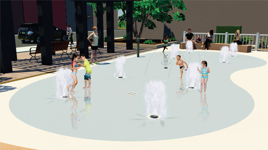 A rendering of the splash pad planned for construction in downtown Fountain Inn.