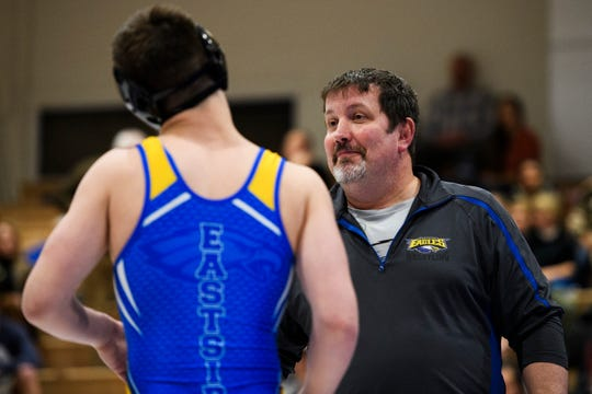 Eastside wrestling head coach Jack Kosmicki during the Region 2-AAAA wrestling championship at Eastside High School on Thursday, Jan. 31, 2019.